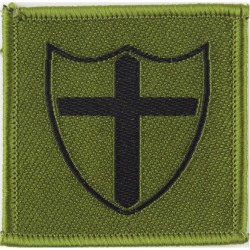 8 Force Engineer Brigade (Black Cross & Shield On Mid Green)  Woven Military Formation arm badge