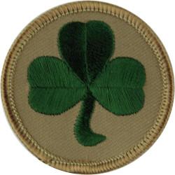 38 (Irish) Brigade - Shamrock On Sandy Disc  Embroidered Military Formation arm badge