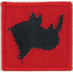 British Peace Support Team (Eastern Africa) Rhino Head On Red  Embroidered Military Formation arm badge