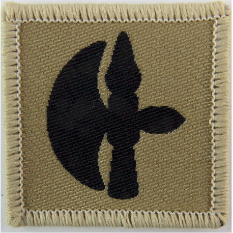 102 Logistic Brigade (Battle-Axe) Black On Sand  Woven Military Formation arm badge