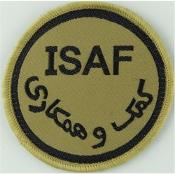 International Security Assistance Force Afghanistan ISAF On Sand Disc  Woven Military Formation arm badge