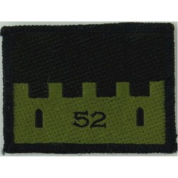 52 Infantry Brigade (52 On Olive Castle On Black) Subdued  Woven Military Formation arm badge