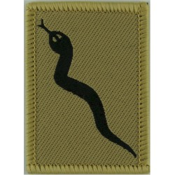101 Logistic Brigade (Black Adder) - Sand Edge FL - Black On Sand  Woven Military Formation arm badge
