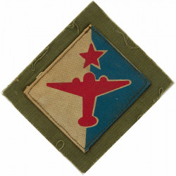 Indian Air Formation Signals (Red Star & Plane On White/Blue Diamond)  Printed Military Formation arm badge