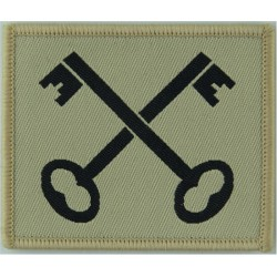 2nd Division (Black Crossed Keys On Sand) Merrowed Edge  Woven Military Formation arm badge