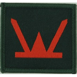 160 (Wales) Brigade (Red W On Green Rectangle) 43mm X 48mm  Woven Military Formation arm badge