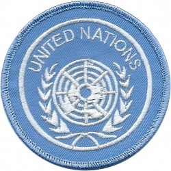 United Nations (White Globe In Wreath On Sky Blue) Circular Arm-Badge  Embroidered United Nations insignia