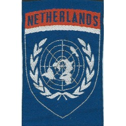 Netherlands United Nations Flash   (Netherlands Over White Globe On Blue)  Woven United Nations insignia
