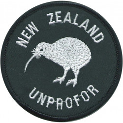 New Zealand Kiwi UNPROFOR (White On Black Circle) See SOLDIER 6Feb95  Embroidered United Nations insignia