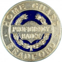 Bradford Home Guard Proficiency Badge Enamelled Centre  Probably Silver Home Guard insignia