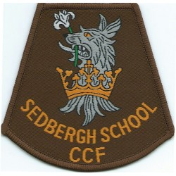 Sedbergh School Combined Cadet Force Armbadge Crest Over Title  Woven Cadet, training or school insignia