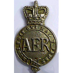 Army Emergency Reserve      (Crown Over Garter Strap Containing AER) with Queen Elizabeth's Crown. White Metal Lapel or sweet-he