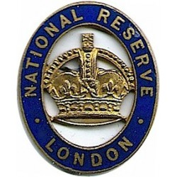 National Reserve London (Serial Numbered) Crown In Blue Oval with King's Crown. Enamel Lapel or sweet-heart badge