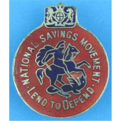 National Savings Movement - Lend To Defend Lapel Badge  Silver-plated and enamel Lapel or sweet-heart badge