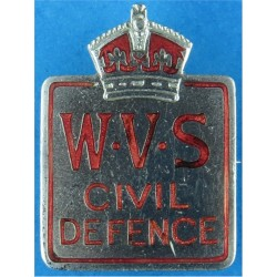 Women's Voluntary Service For Civil Defence (WVS) Lapel Badge 1939-47 with King's Crown. Chrome and enamelled Lapel or sweet-hea