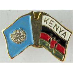 Kenya UNPROFOR Pin-Badge (Crossed-Flags) (Worn On Combat Kit)  Enamel Lapel or sweet-heart badge