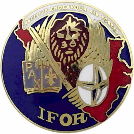 IFOR Operation Decisive Endeavour Air Forces 25mm Diameter Disc  Enamel Lapel or sweet-heart badge