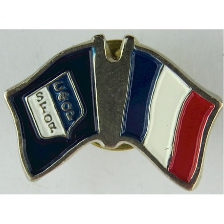 French SFOR Pin-Badge (Crossed-Flags) (Worn On Combat Kit)  Enamel Lapel or sweet-heart badge