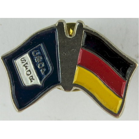 German SFOR Pin-Badge (Crossed-Flags) (Worn On Combat Kit)  Enamel Lapel or sweet-heart badge