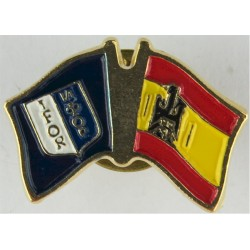 Spanish IFOR Pin-Badge (Crossed-Flags) (Worn On Combat Kit)  Enamel Lapel or sweet-heart badge