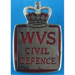 Women's Voluntary Service For Civil Defence (WVS) Lapel Badge 1952-66 with Queen Elizabeth's Crown. Chrome and enamelled Lapel o