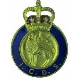 ICDS: Industrial Civil Defence Service English Lion Buttonhole - Male with Queen Elizabeth's Crown. Enamel Lapel or sweet-heart