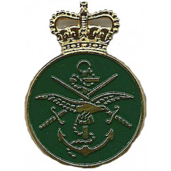 Ministry Of Defence Messenger (Tri-Service Crest On Green) with Queen Elizabeth's Crown. Gilt and enamel Lapel or sweet-heart ba