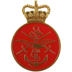 Ministry Of Defence Senior Messenger (Tri-Service Crest On Red) with Queen Elizabeth's Crown. Gilt and enamel Lapel or sweet-hea
