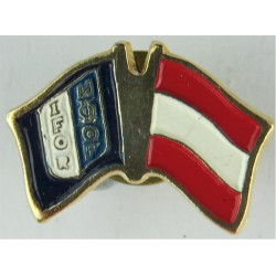 Austrian IFOR Pin-Badge (Crossed-Flags) (Worn On Combat Kit)  Enamel Lapel or sweet-heart badge