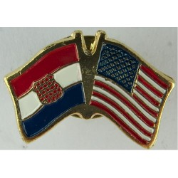 Croatian / United States Pin-Badge (Crossed-Flags) (Worn On Combat Kit)  Enamel Lapel or sweet-heart badge
