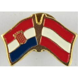 Croatian / Austrian Pin-Badge (Crossed-Flags) (Worn On Combat Kit)  Enamel Lapel or sweet-heart badge