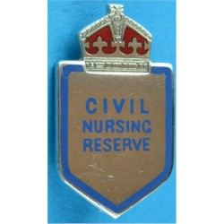 Civil Nursing Reserve     (Shield With Crown Above) Brooch Fitting with King's Crown. Silver Lapel or sweet-heart badge