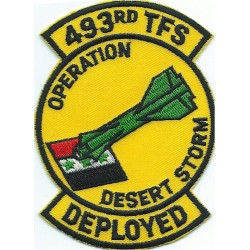 493rd Tactical Ftr Sqn - Deployed - Op Desert Storm   Embroidered Gulf War cloth badge
