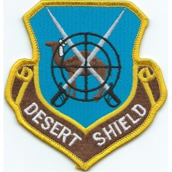 Desert Shield - Camel & Crossed Scimitars in sights   Embroidered Gulf War cloth badge