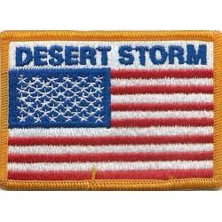 Desert Storm over US Flag rectangle 9 x 6.5 cm  Embroidered Gulf War cloth badge