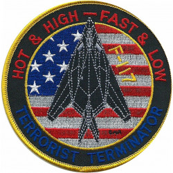 F-117 - Stealth Bomber 'Hot & High - Fast & Low'   Embroidered Gulf War cloth badge