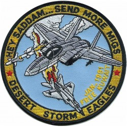 Hey Saddam... Send More MiGs - Desert Storm Eagles   Embroidered Gulf War cloth badge