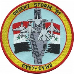 USS John F Kennedy CV67 - planes on Aircraft Carrier Desert Storm '91  Embroidered Gulf War cloth badge
