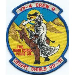 VP-4 Crew 9 The Dawn Patrol Rides On... Desert Shield 90-91  Embroidered Gulf War cloth badge