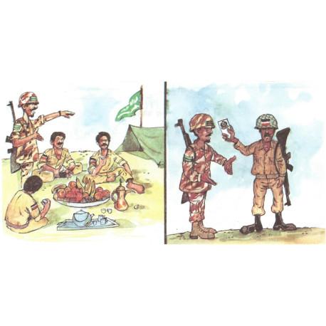 Safe conduct pass (large) coloured cartoons on card propaganda air-drop  Leaflet Propaganda Leaflet