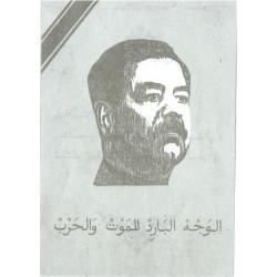Saddam's face (The Cold Face of Death in War) On Grey Background  Leaflet Propaganda Leaflet