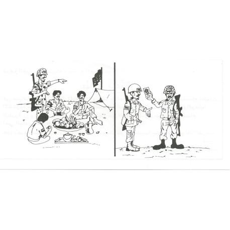 UN Safe Conduct Pass (black & White Cartoons) On Thin Paper  Leaflet Propaganda Leaflet