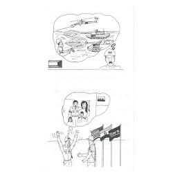 War & Family Cartoons / Cease Resistance - Be Safe Reverse Red Print  Leaflet Propaganda Leaflet