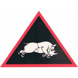 1st Armd Div Charging Rhino in NBC Suit/Respirator   Sticker Gulf War zap-sticker