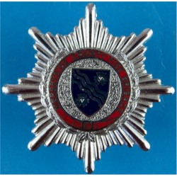 West Sussex Fire Brigade - Pattern With Coronet Cap Badge Post-1974  Chrome and enamelled Fire and Rescue Service insignia