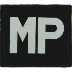 International Military Police Armbadge White MP On Black  Woven Balkan War memorabilia