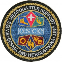 OSCE / Swiss Army Headquarter Support Unit Armbadge Bosnia & Hercegovina  Embroidered Balkan War memorabilia