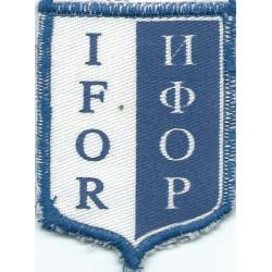 IFOR Armbadge (shield 62mm X 48mm)   Printed British Balkan peace-keeping insignia