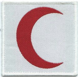 Red Crescent On White Rectangle Medic Badge - Muslim  Woven British Balkan peace-keeping insignia