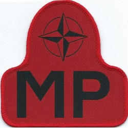 NATO Military Police Armbadge Bell-Shape - Red  Woven British Balkan peace-keeping insignia